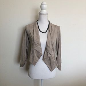 Jackets & Blazers - Beige / taupe colored faux suede blazer